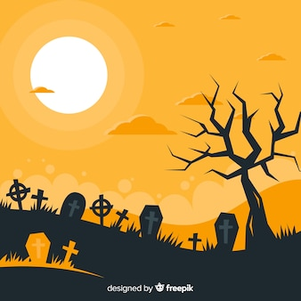 Terrific halloween background with flat design