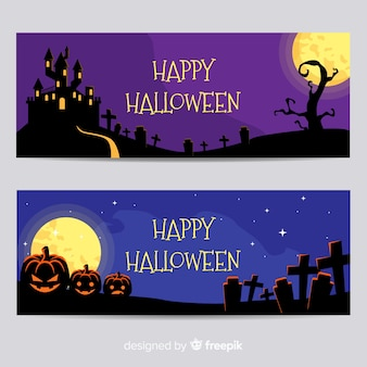 Terrific halloween banners with flat design