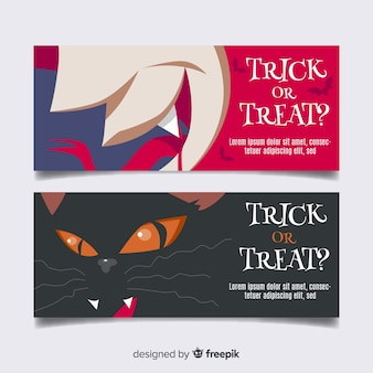 Потрясающие баннеры хэллоуина с плоским дизайном