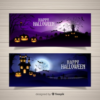 Terrific halloween banners with realistic design
