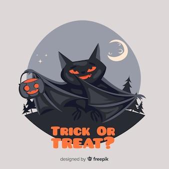 Terrific halloween bat with flat design