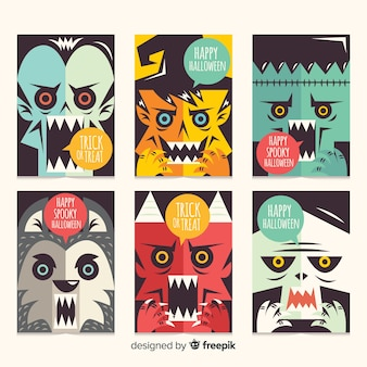 Terrific halloween card collection with flat design