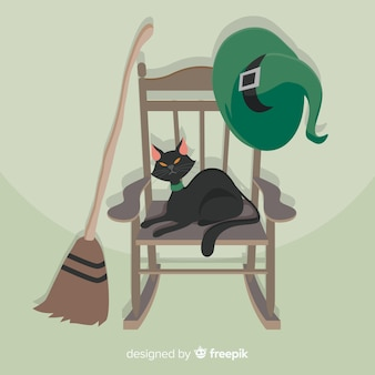 Terrific halloween cat with flat design