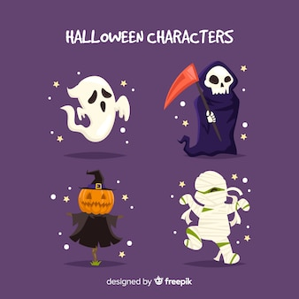 Terrific halloween character collection with flat design