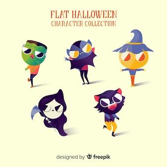 Fantastica collezione di personaggi di halloween con un design piatto