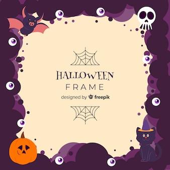 Terrific halloween frame with flat design