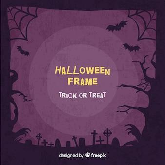 Потрясающая рамка хэллоуина с плоским дизайном