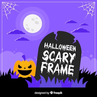 Terrific halloween frame with flat design