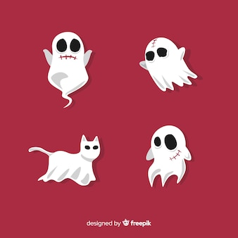 Terrific halloween ghost collection with flat design