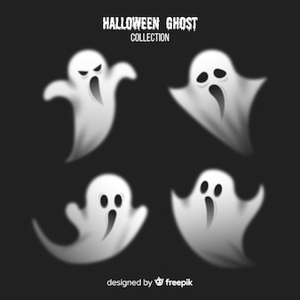 Terrific halloween ghost collection with realistic design