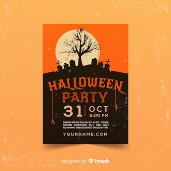 Потрясающий шаблон плаката для вечеринок на хэллоуин с плоским дизайном Бесплатные векторы