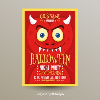 Terrific halloween party poster template with flat design