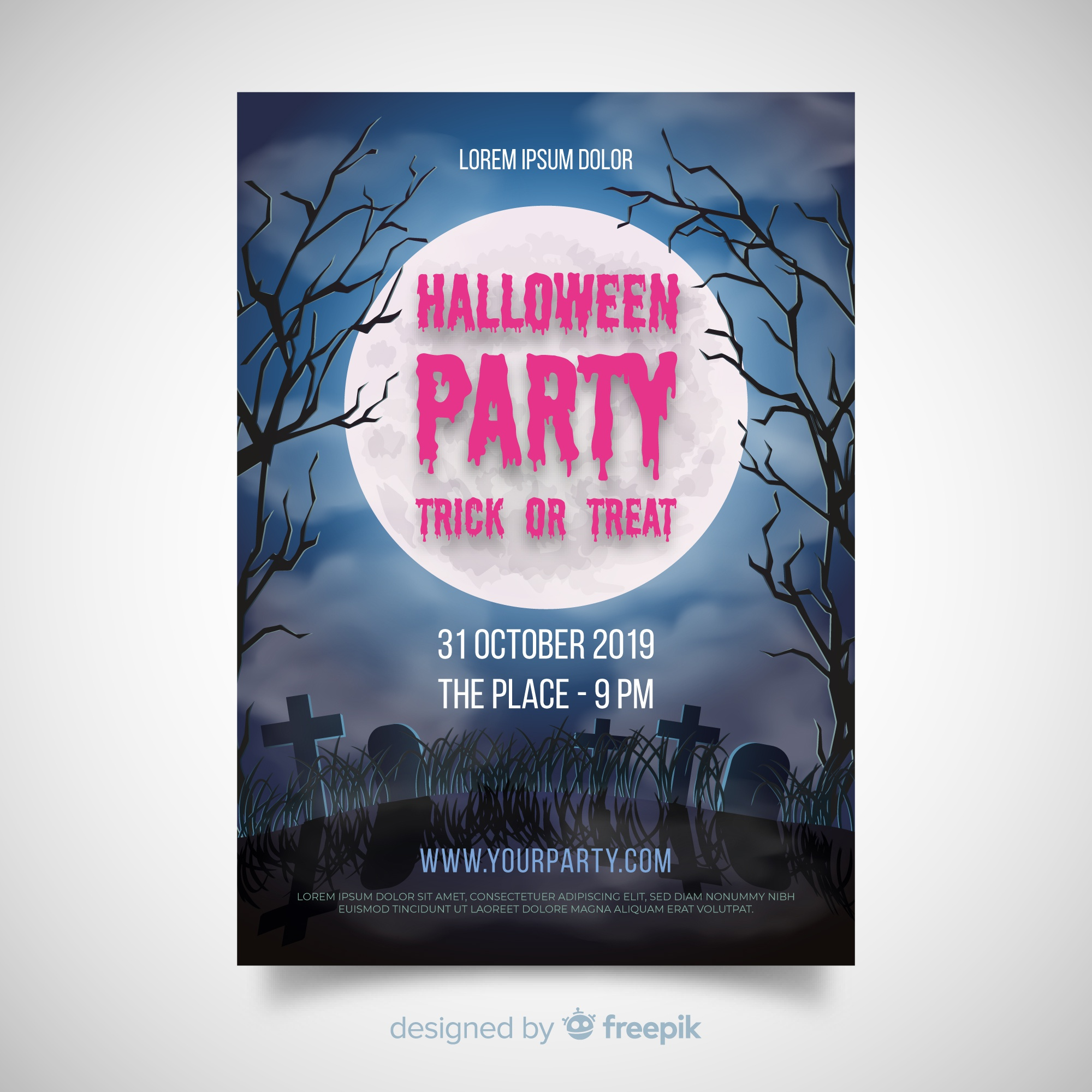Terrific halloween party poster with realisitc design