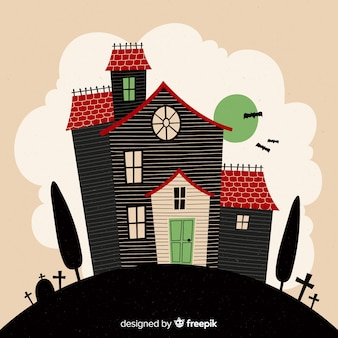 Terrific hand drawn halloween haunted house