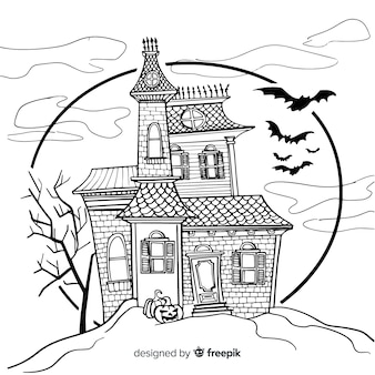 Terrific hand drawn haunted house