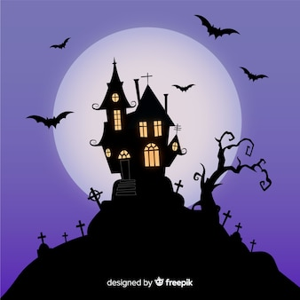 Terrific haunted house with flat design
