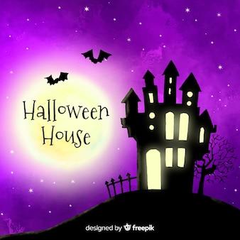 Terrific watercolor halloween haunted house