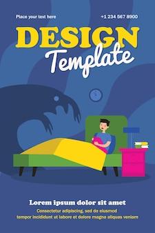 怪物の影が怖いおびえた子供。夜のフラットポスターで彼のベッドに座っている少年