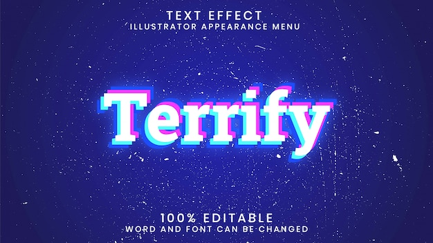 Terrify editable text effect style template