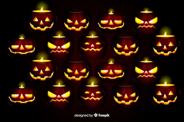 Terrifying pumpkins realistic halloween background