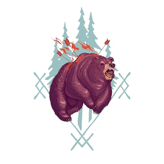 Terrifying werebear cartoon illustration