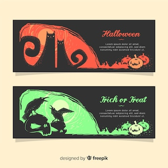 Terrirfic halloween banners with flat design