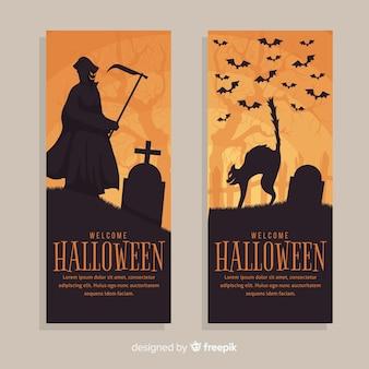 Terrirfic halloween banners with flat design