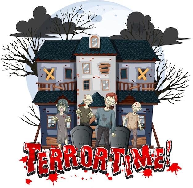 Disegno del testo di terror time con haunted house