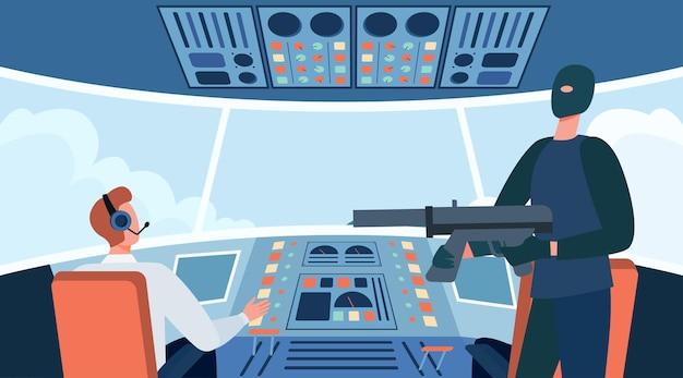 테러리스트가 항공기를 납치하고 총을 들고