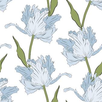 テリーブルーのチューリップ。シームレスなパターン。手描きのベクトル図です。線画。印刷、ファブリック、テキスタイル、壁紙のテクスチャ。