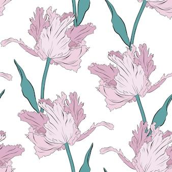 Махровые розовые тюльпаны. бесшовные модели. рисованной векторные иллюстрации. штриховая графика. текстура для печати, ткани, текстиля, обоев.