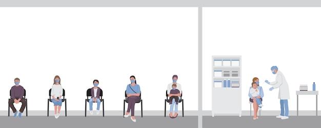 어린이의 인후 감염 검사 의료 종사자 의사 간호사가 막대기로 검사를 받고 있다