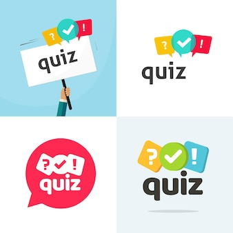 Test quiz logo icon vector flat cartoon competition interview time or interrogation game logotype
