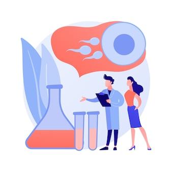 試験管受精抽象的な概念ベクトル図。試験管の赤ちゃん、体外受精、ペトリ皿、植物育種家、人工授精、卵細胞、妊婦の抽象的な比喩。