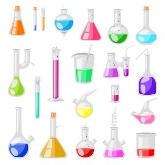 Пробирка колба химического стекла пробирки, заполненные жидкостью для научных исследований или эксперимента иллюстрации химия набор посуды на белом фоне