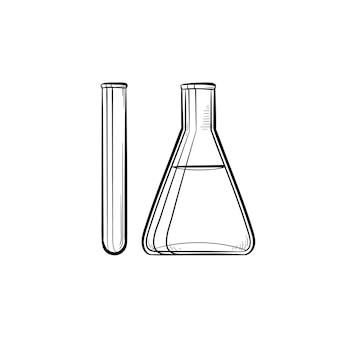 試験管手描きのアウトライン落書きアイコン。研究、化学、実験の概念としての実験装置