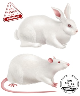 Not tested on animals realistic icons