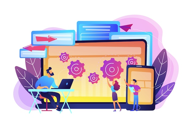 Tester and developer work with laptop and tablet. cross platform bug founding, bug identification and testing team concept on white background. bright vibrant violet  isolated illustration