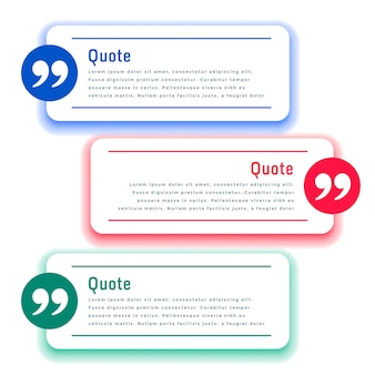 Testimonial boxes or quotes template in three colors