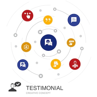 Testimonial colored circle concept with simple icons. contains such elements as feedback, recommendation, review, comment
