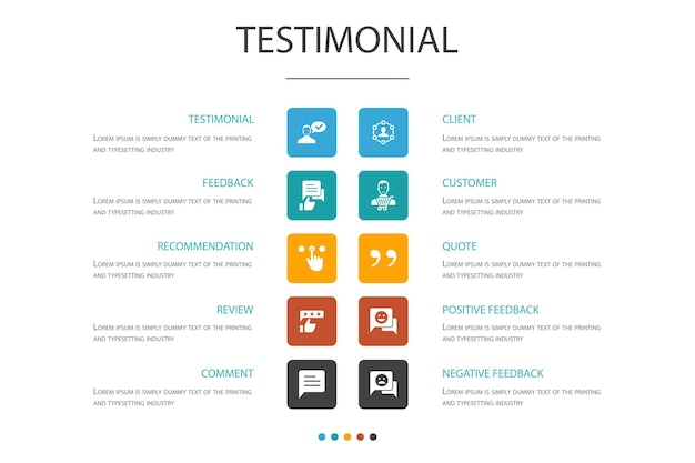 Testimonial infographic 10 option concept.feedback, recommendation, review, comment simple icons