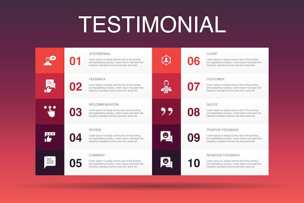 Testimonial infographic 10 option template.feedback, recommendation, review, comment simple icons