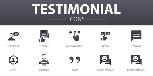 Testimonial simple concept icons set. contains such icons as feedback, recommendation, review, comment and more, can be used for web, logo, ui/ux