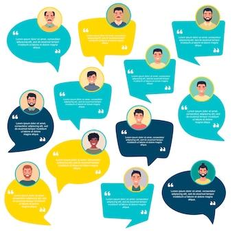 남성 아바타와 평가 연설 거품 개념