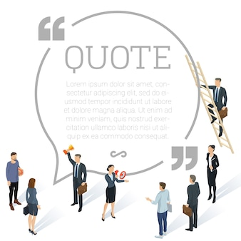 ソーシャルネットワークのコメントを作成する若者やビジネスマンとの証言ラウンド引用形の概念フラットデザイン等尺性の人々