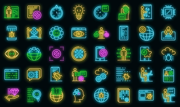 Testing software icons set. outline set of testing software vector icons neon color on black