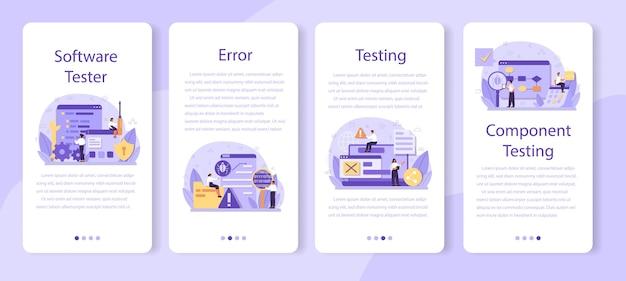 Testing software mobile application banner set