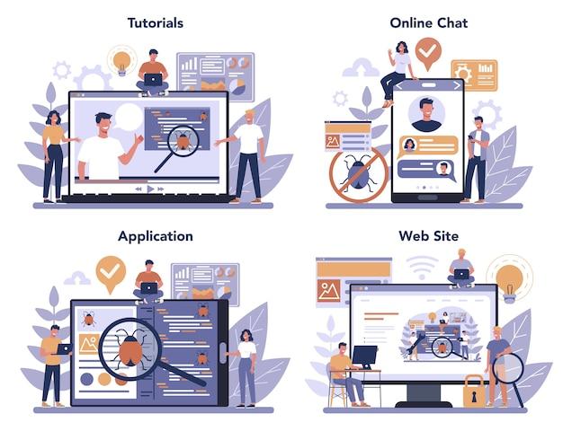 Testing software online service or platform set