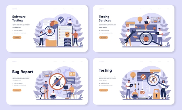 テストソフトウェアのwebランディングページセット。アプリケーションまたはウェブサイトのコードテストプロセス。バグを探しているitスペシャリスト。コンピュータ技術のアイデア。漫画スタイルのベクトルイラスト