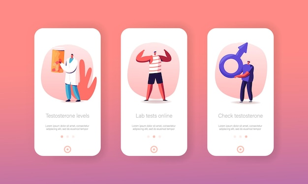 Testosterone mobile app page onboard screen template. tiny man character hold huge mars sign